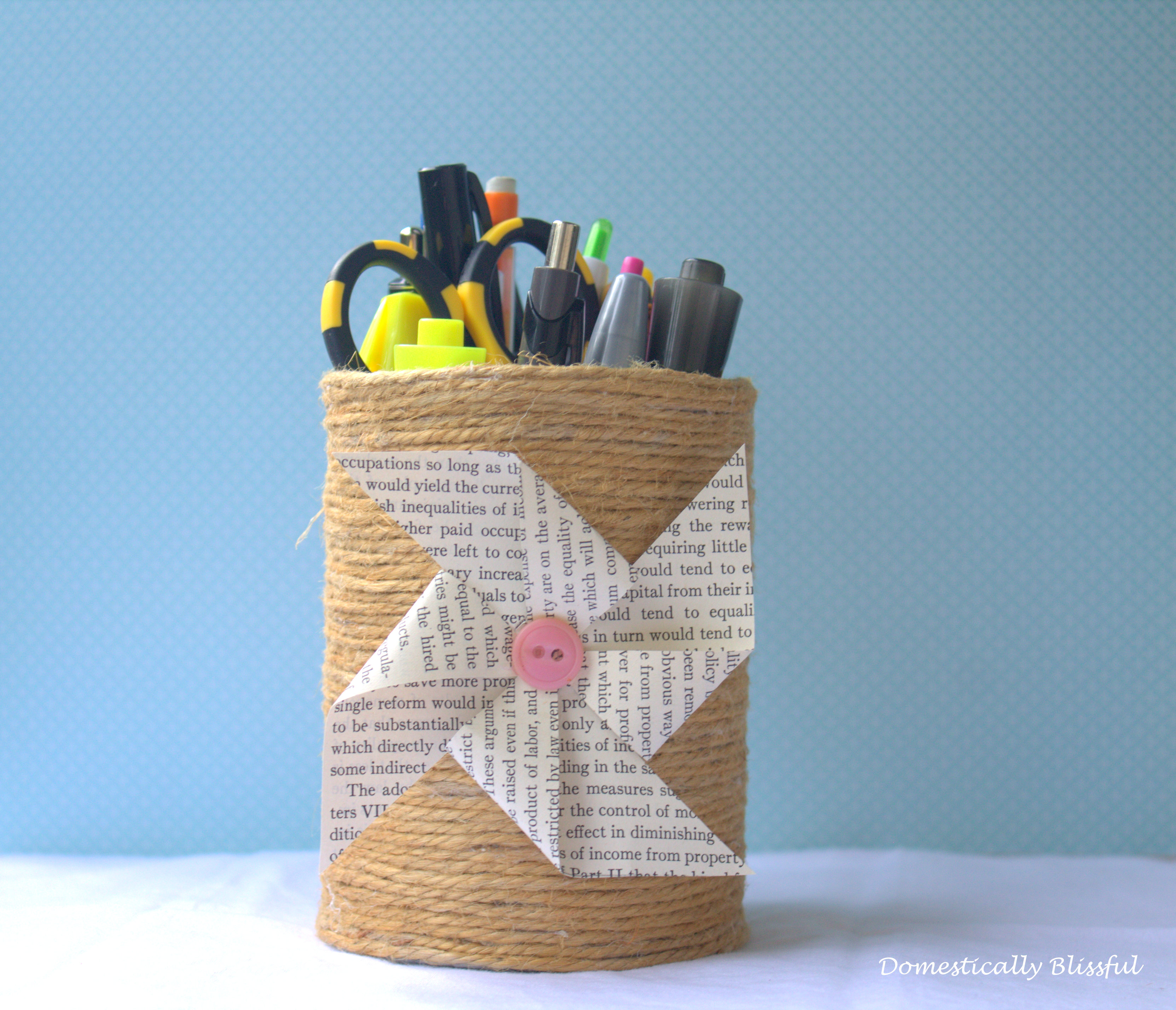 twine wrapped tin can as a pencil holder