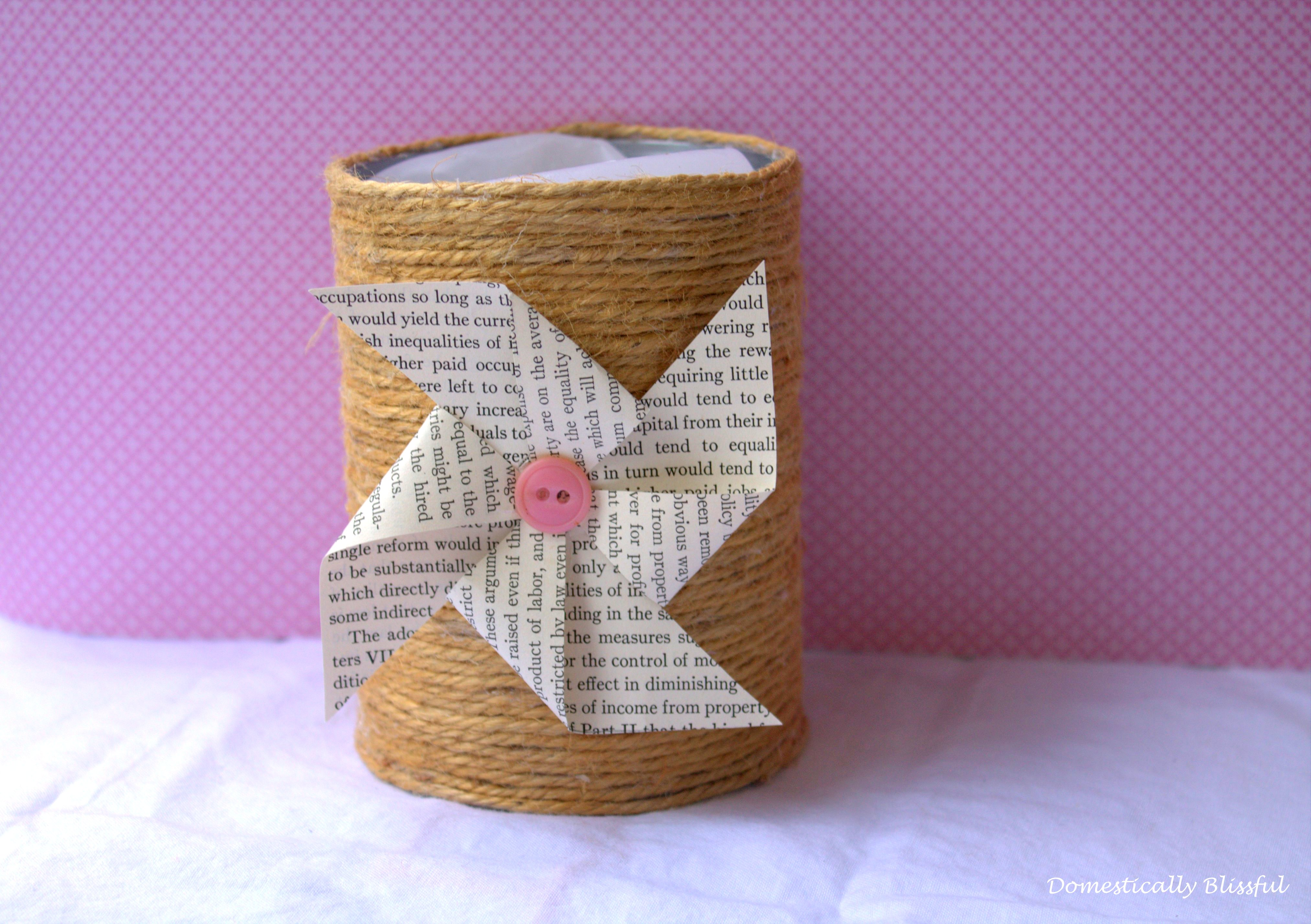 twine wrapped tin can for candle