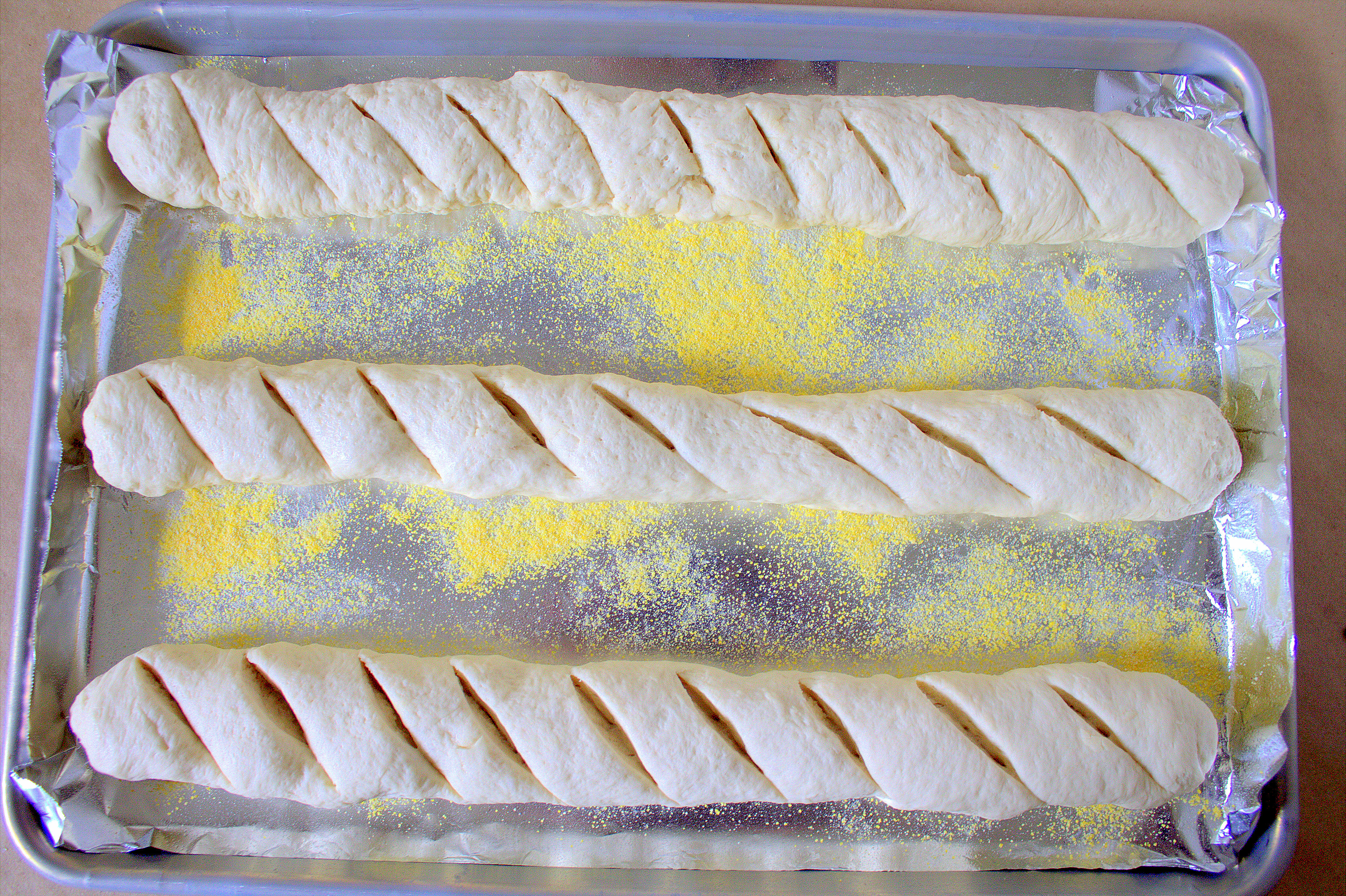 French Baguette Bread ready to bake