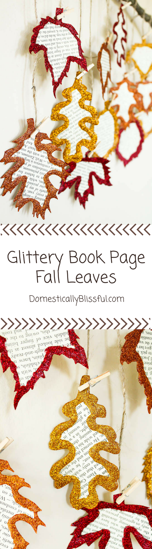 Glittery Book Page Fall Leaves by Domestically Blissful