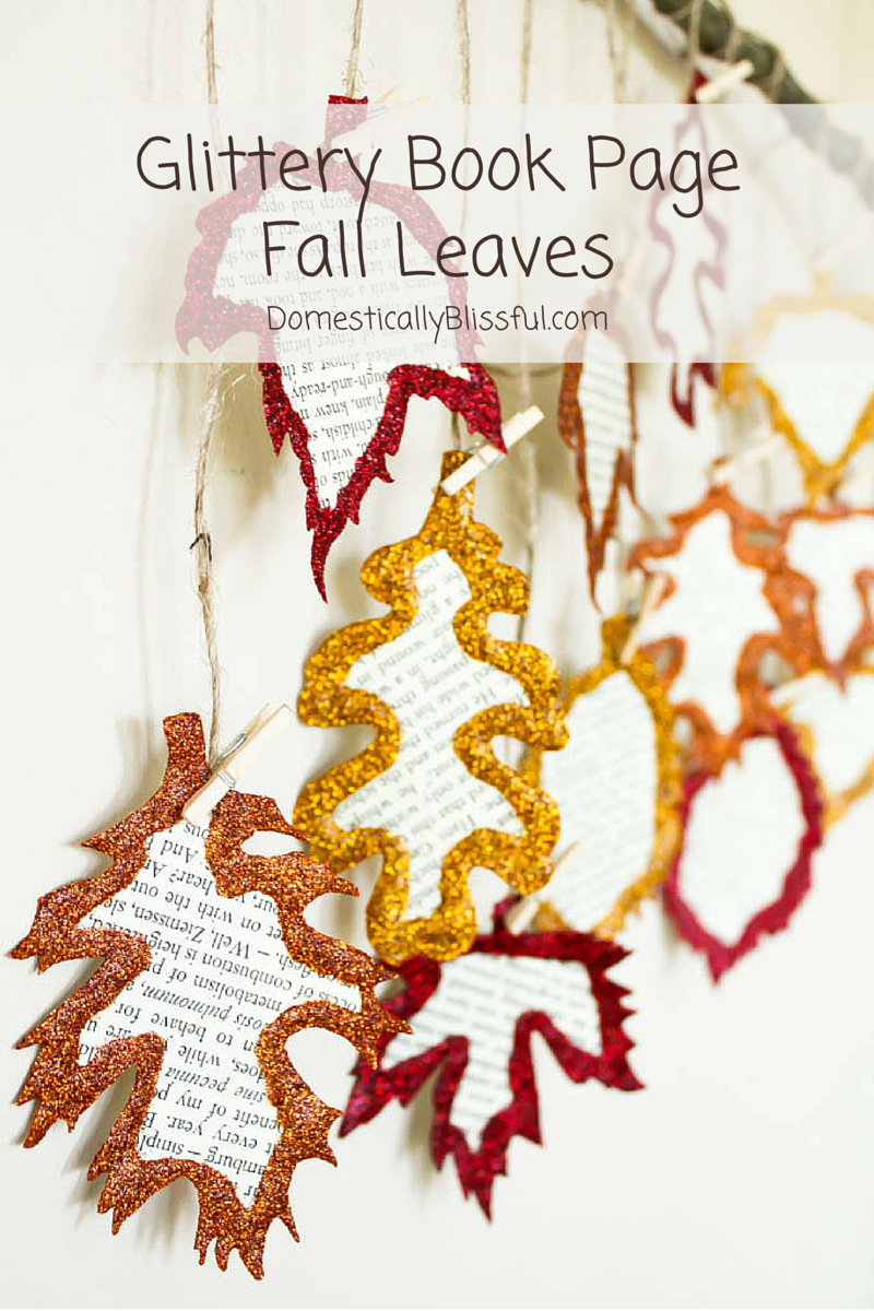 Glittery Book Page Fall Leaves
