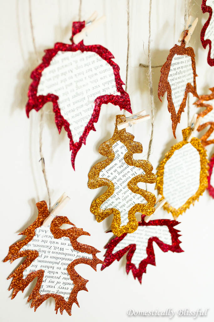 Glittery Book Page Leaves