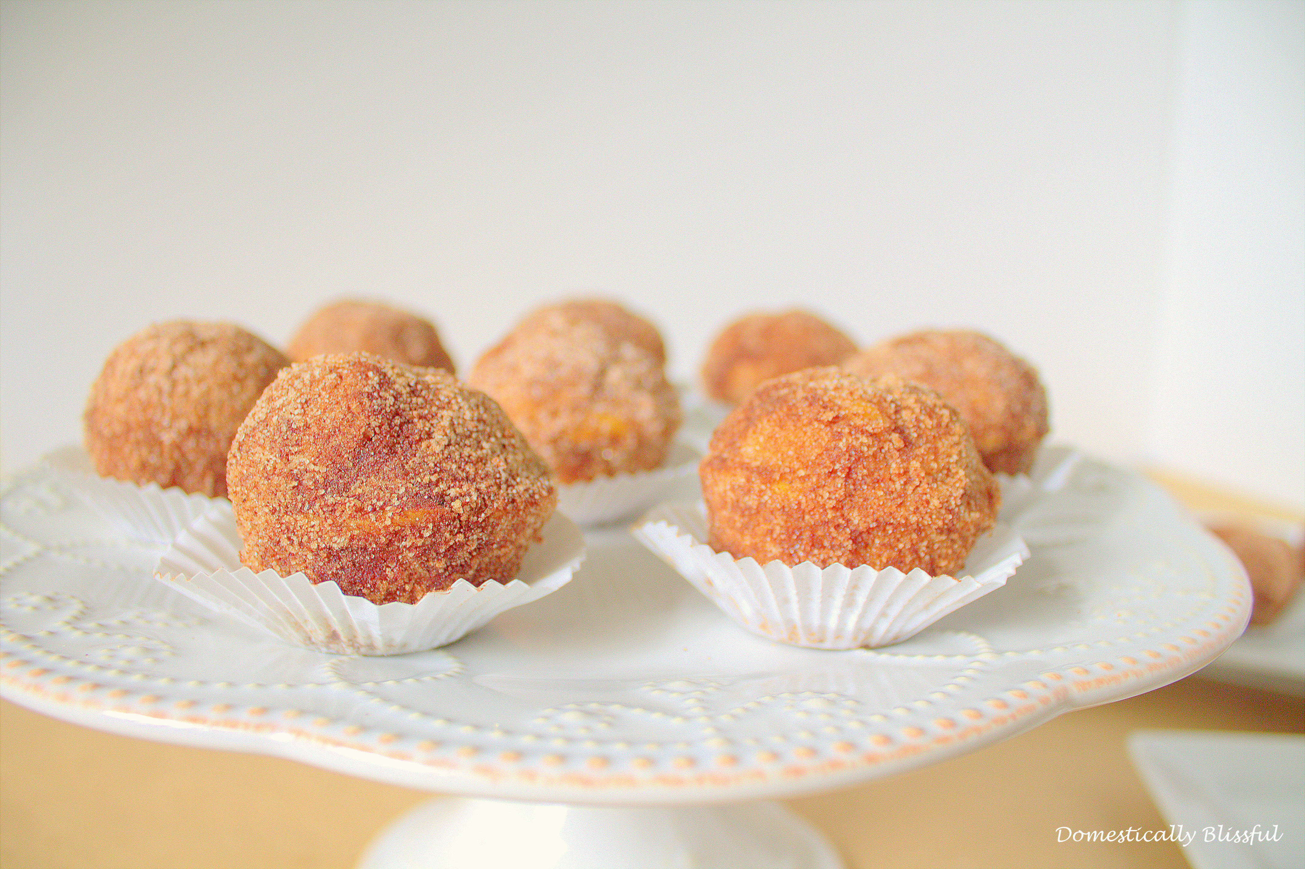 Pumpkin Spice Donut Holes formed with mini muffin pan