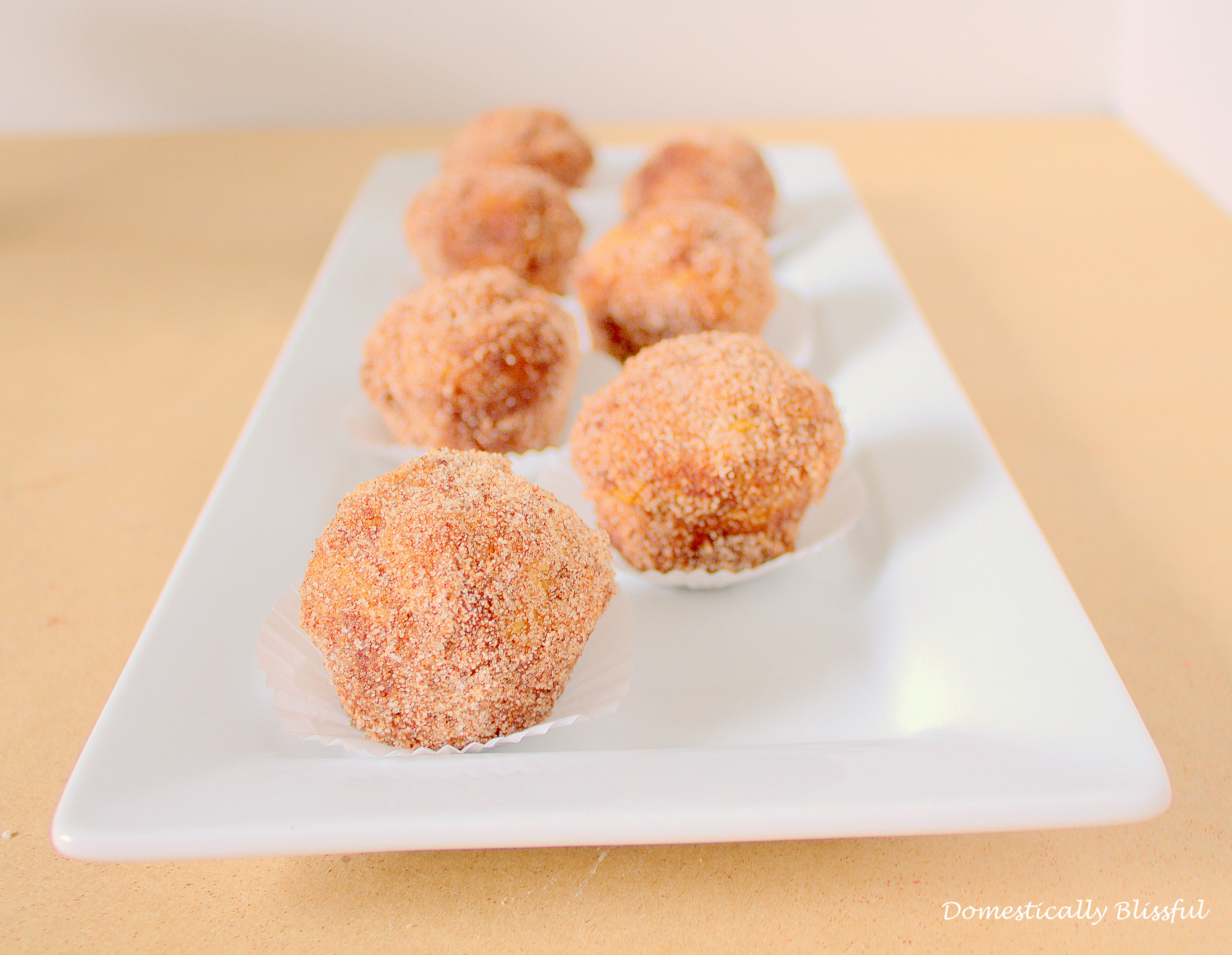 Pumpkin Spice Donut Holes in mini muffin liners