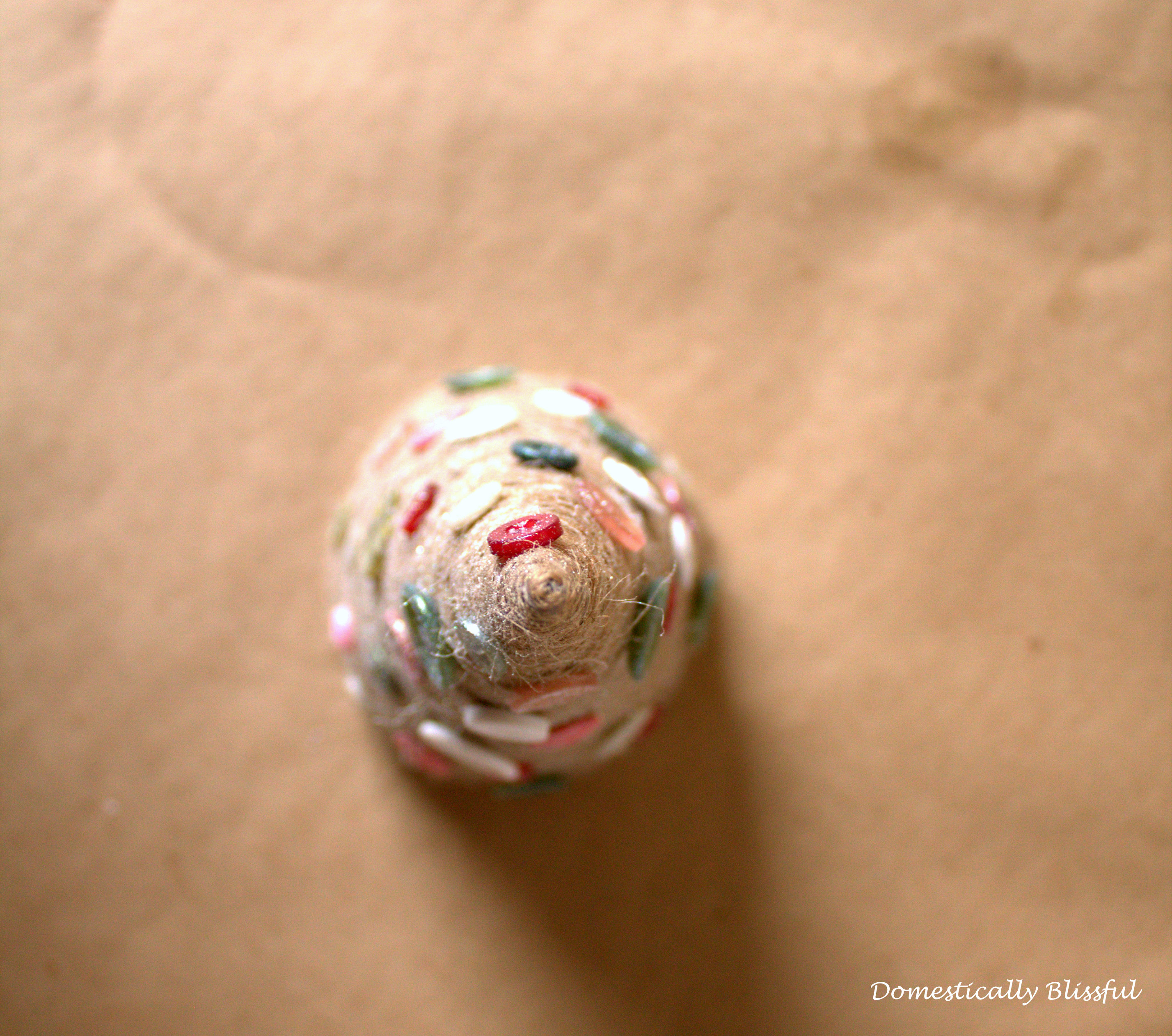 Twine Christmas Tree with Button Ornaments