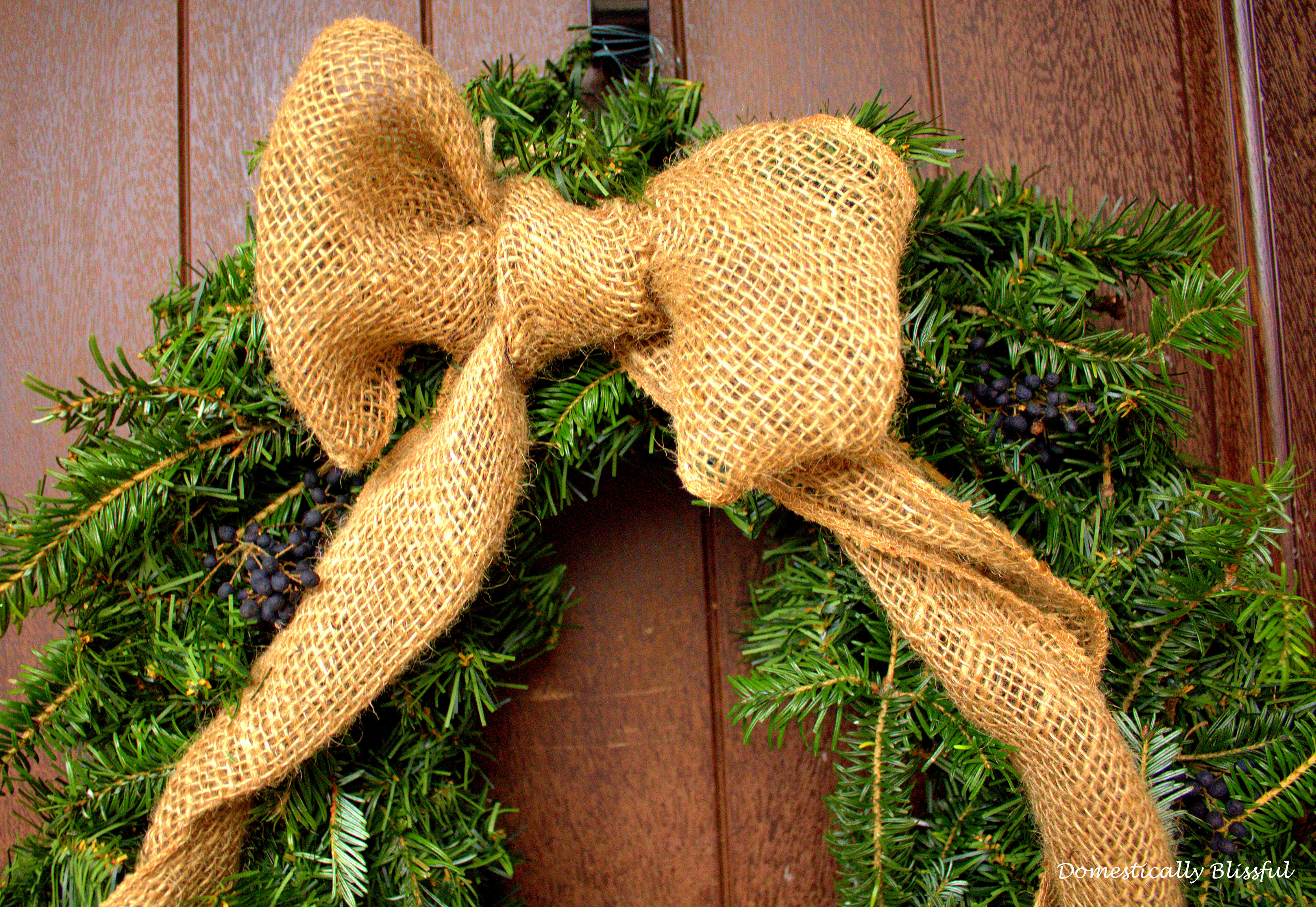 Burlap Ribbon Bow on Christmas Wreath