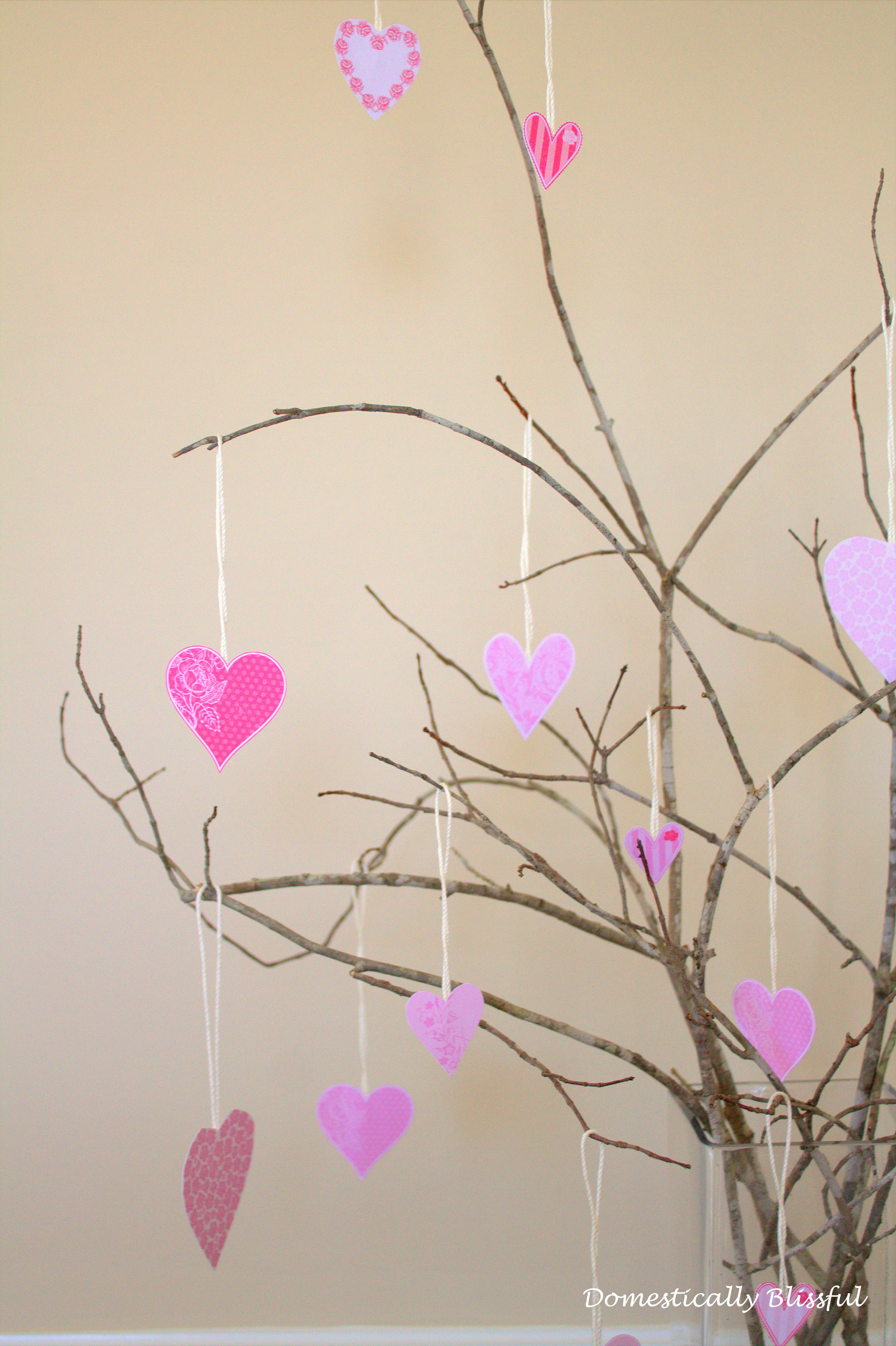 Hearts on tree branches