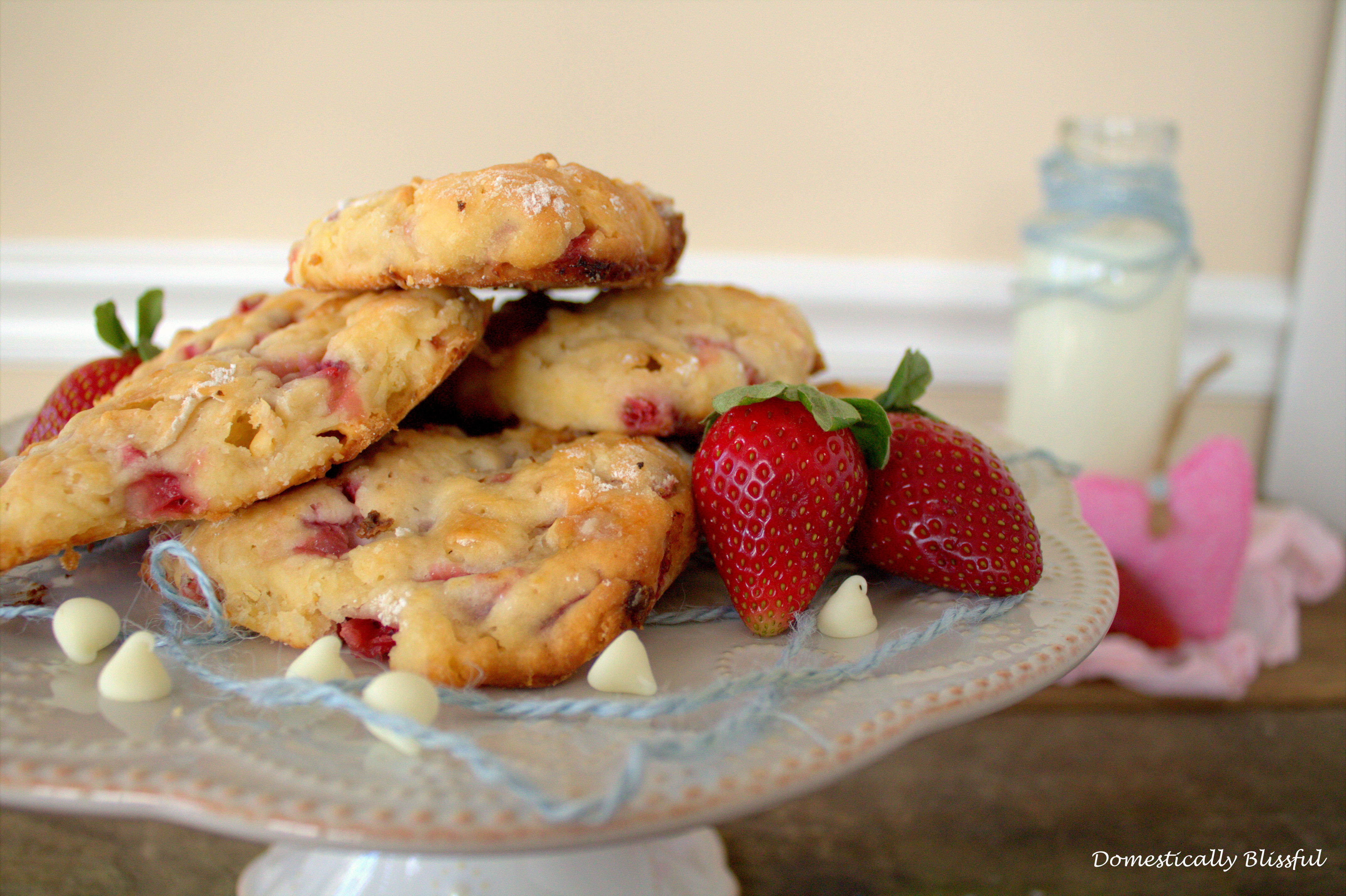 White Chocolate and Strawberries in Scones