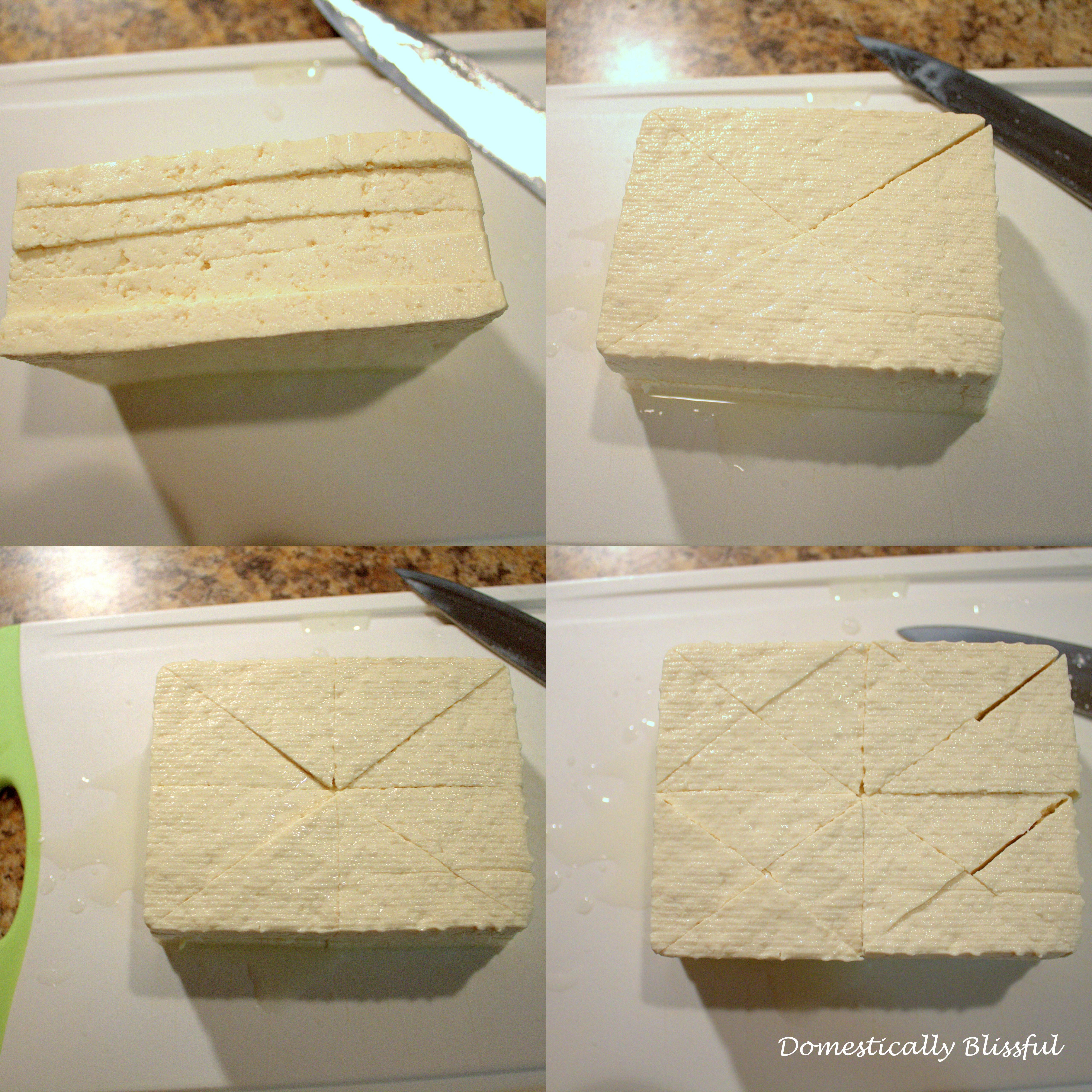 how to cut triangular tofu