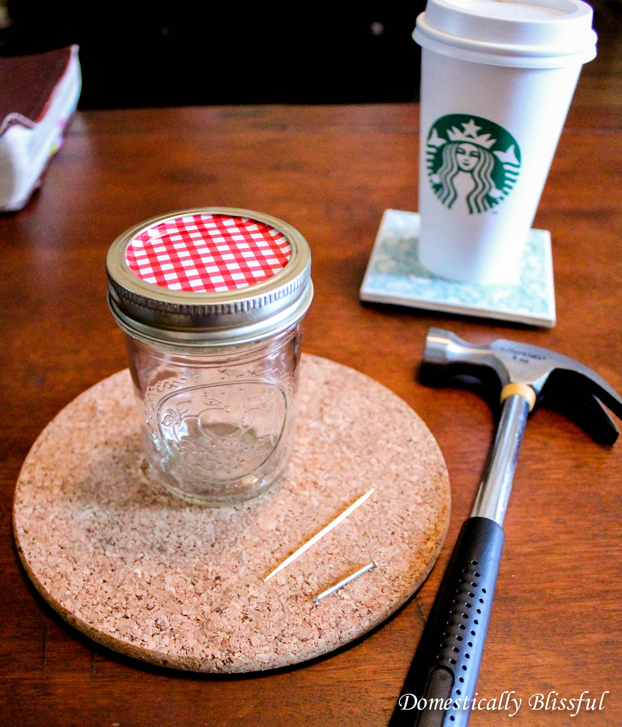 What you need for a mason jar toothpick dispenser