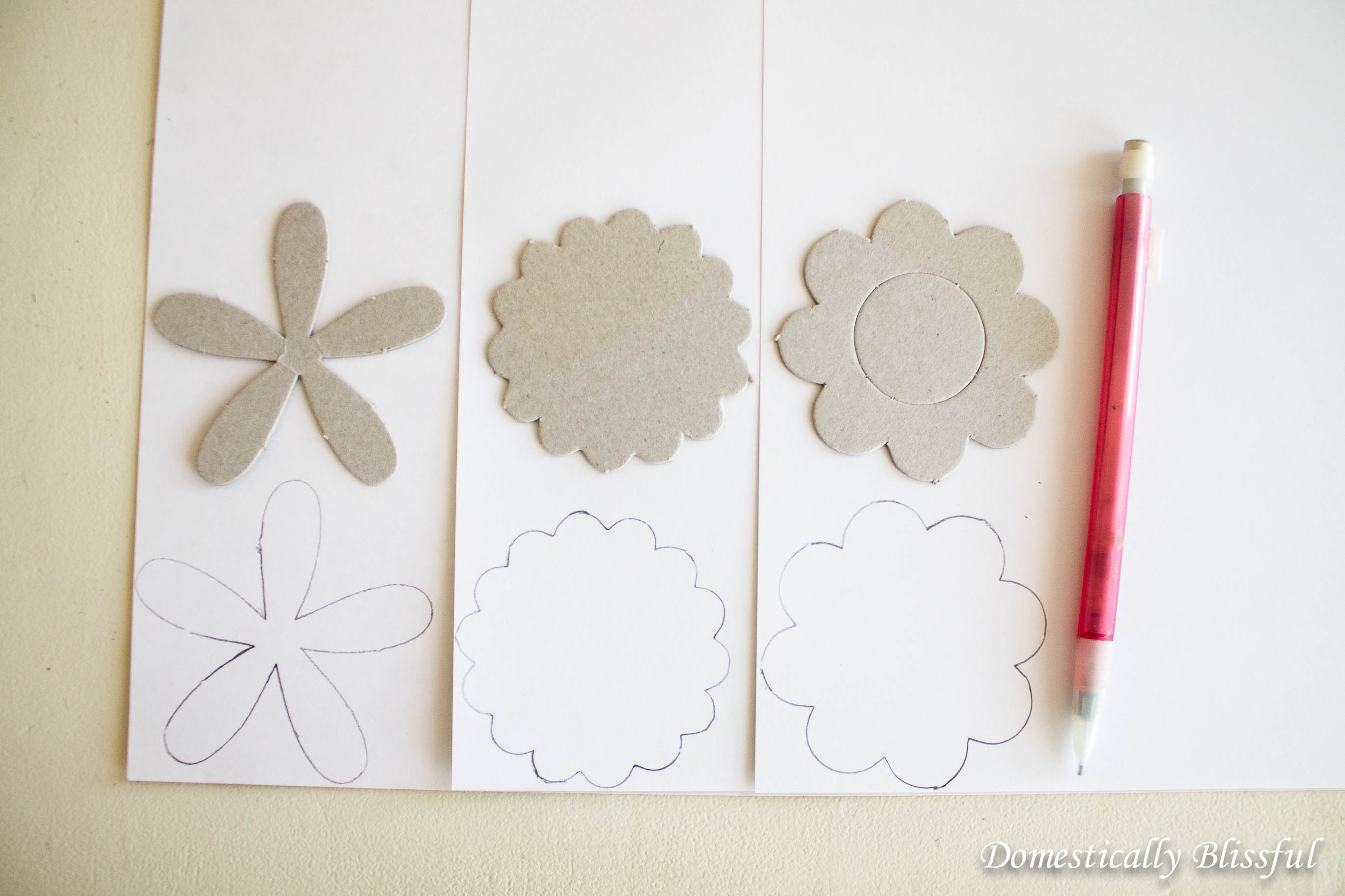 Trace flowers onto spring scrapbook paper