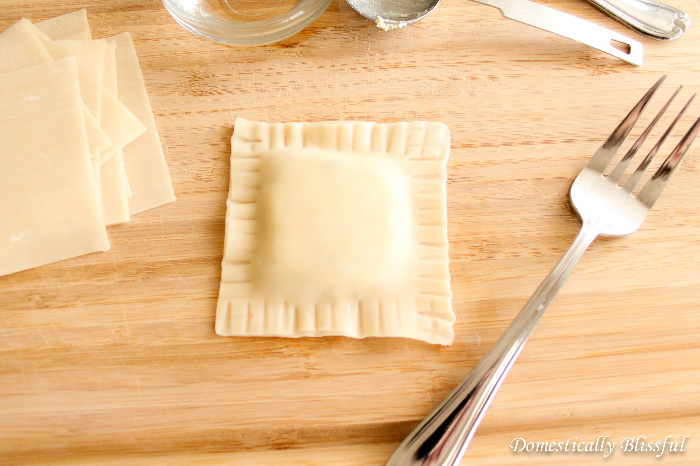 Use a fork to make decorative marks on the ravioli