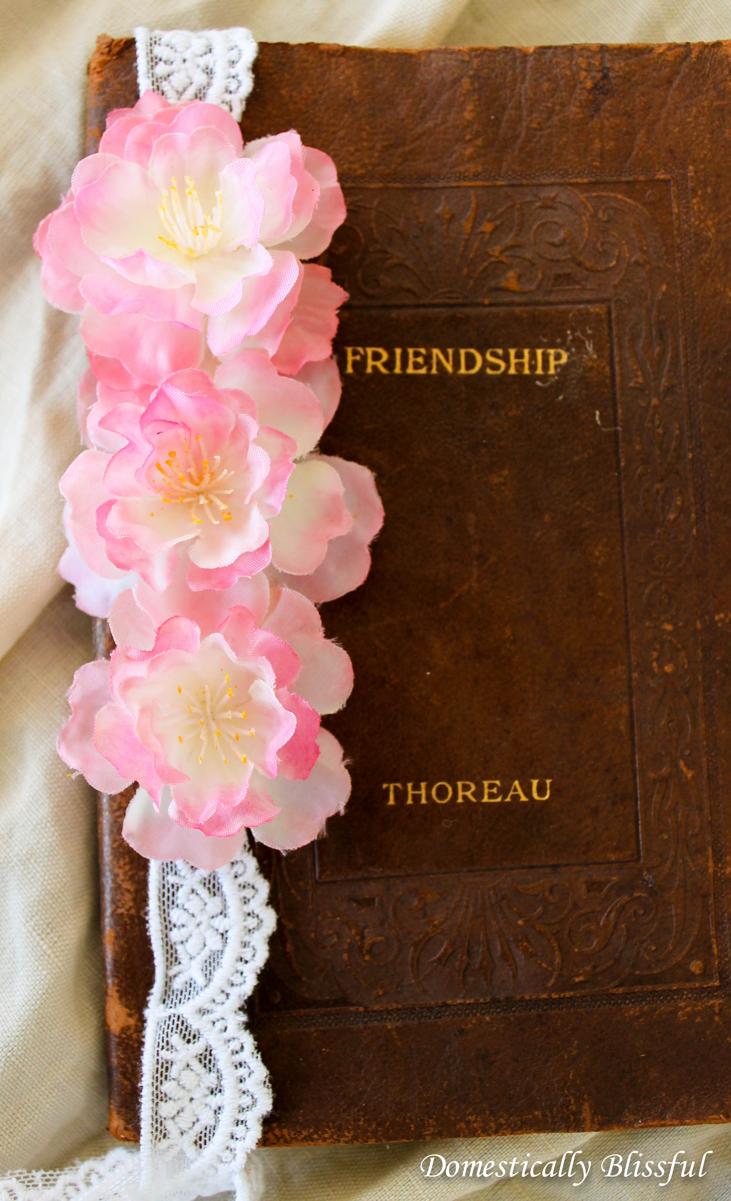 Cherry Blossoms on Lace as a Bookmark