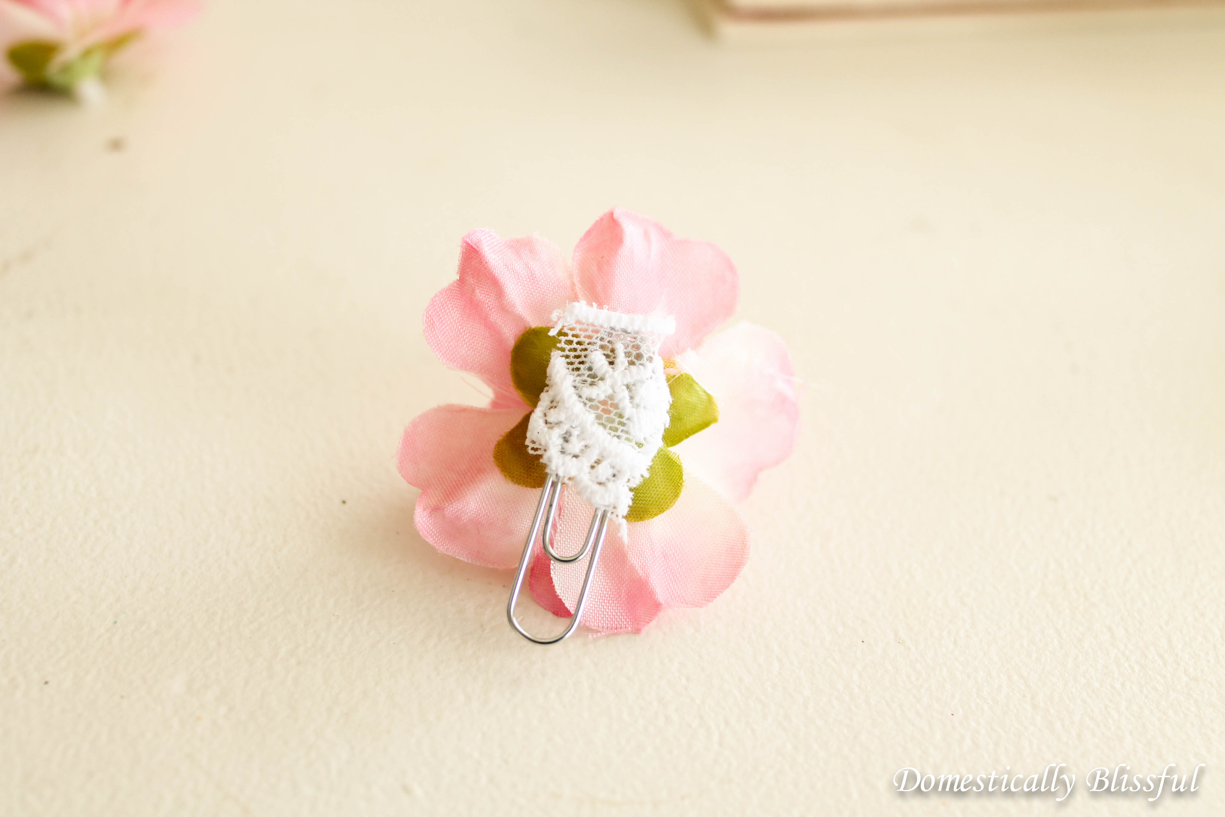The back of a Cherry Blossom Paperclip Bookmark