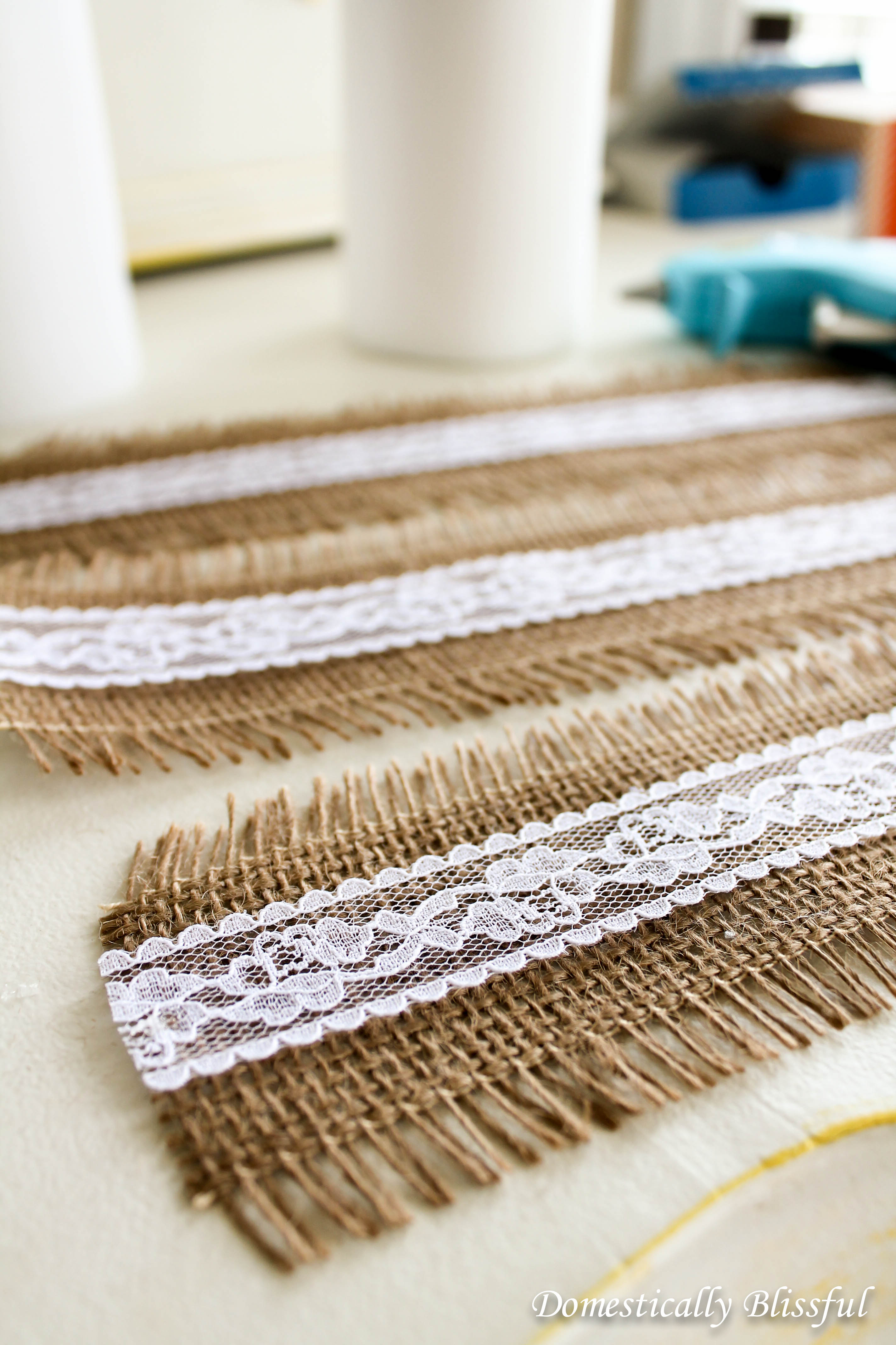 Cut and Glue the Burlap and Lace