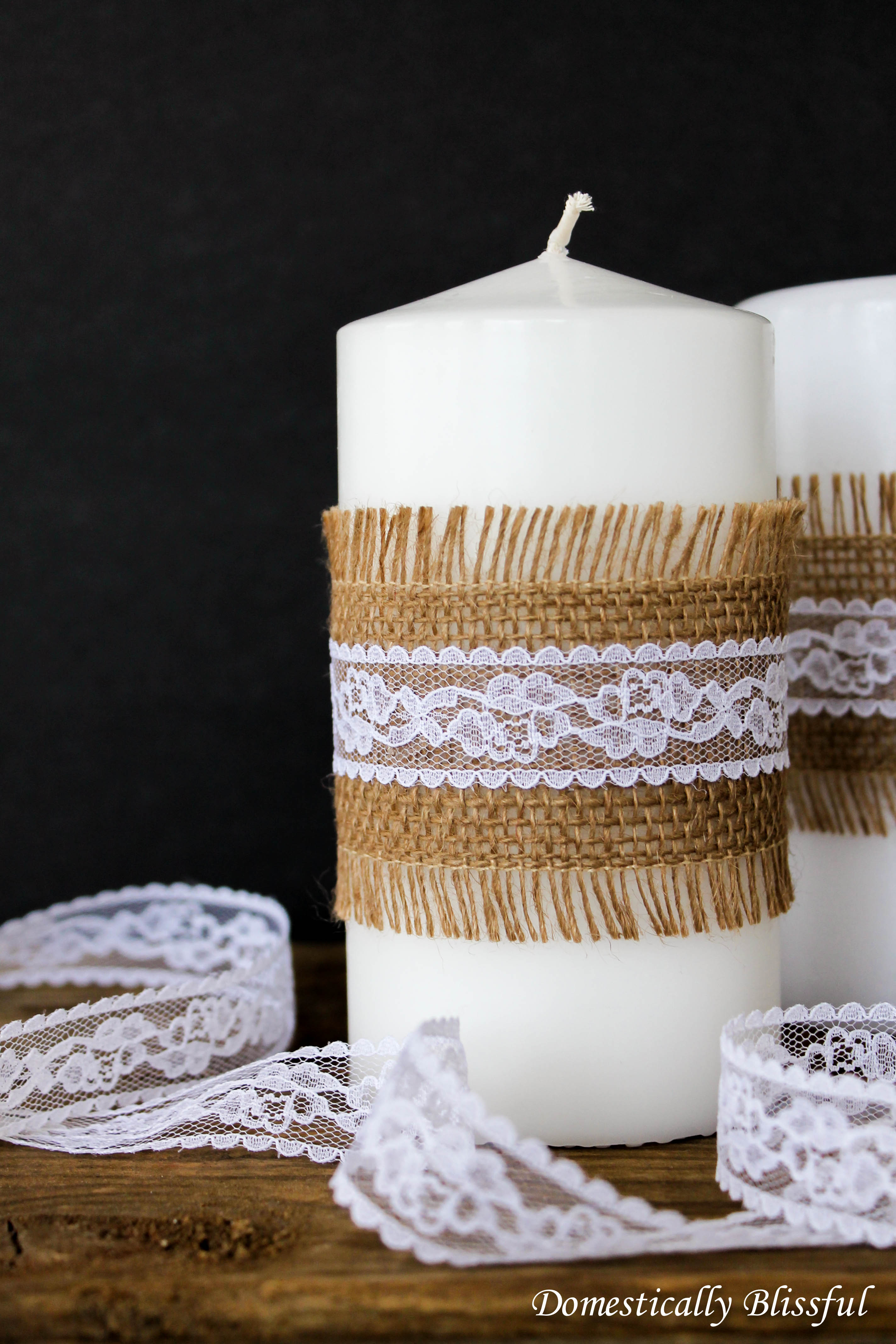 DIY Burlap and Lace Candles