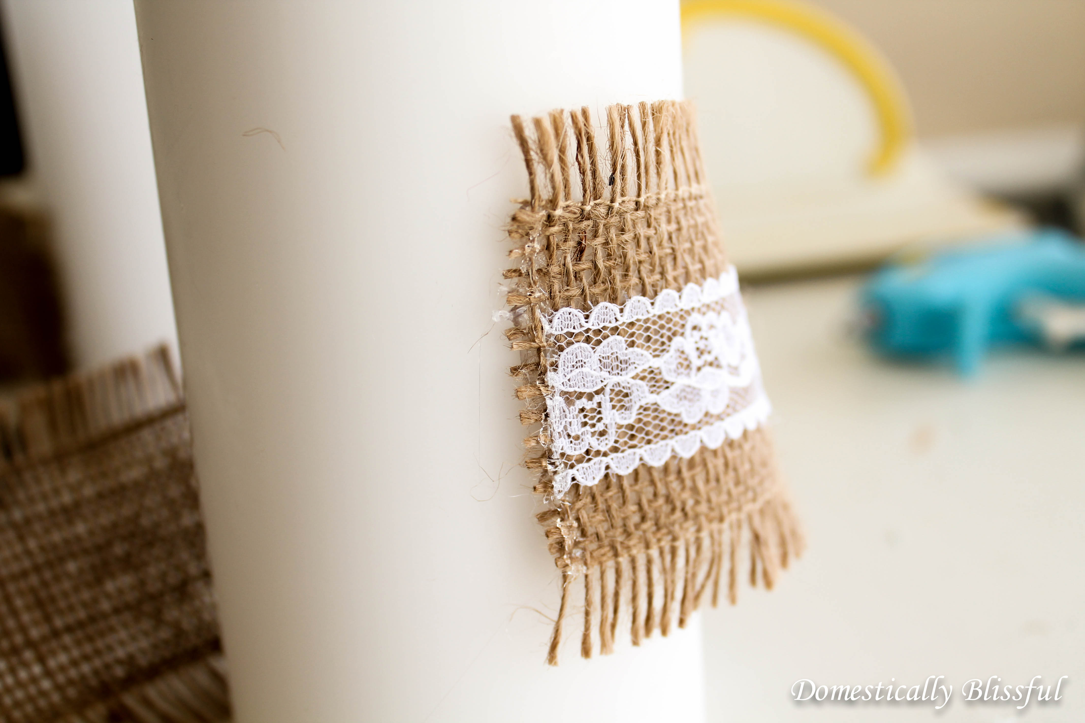 Glue Burlap and Lace to the Candle