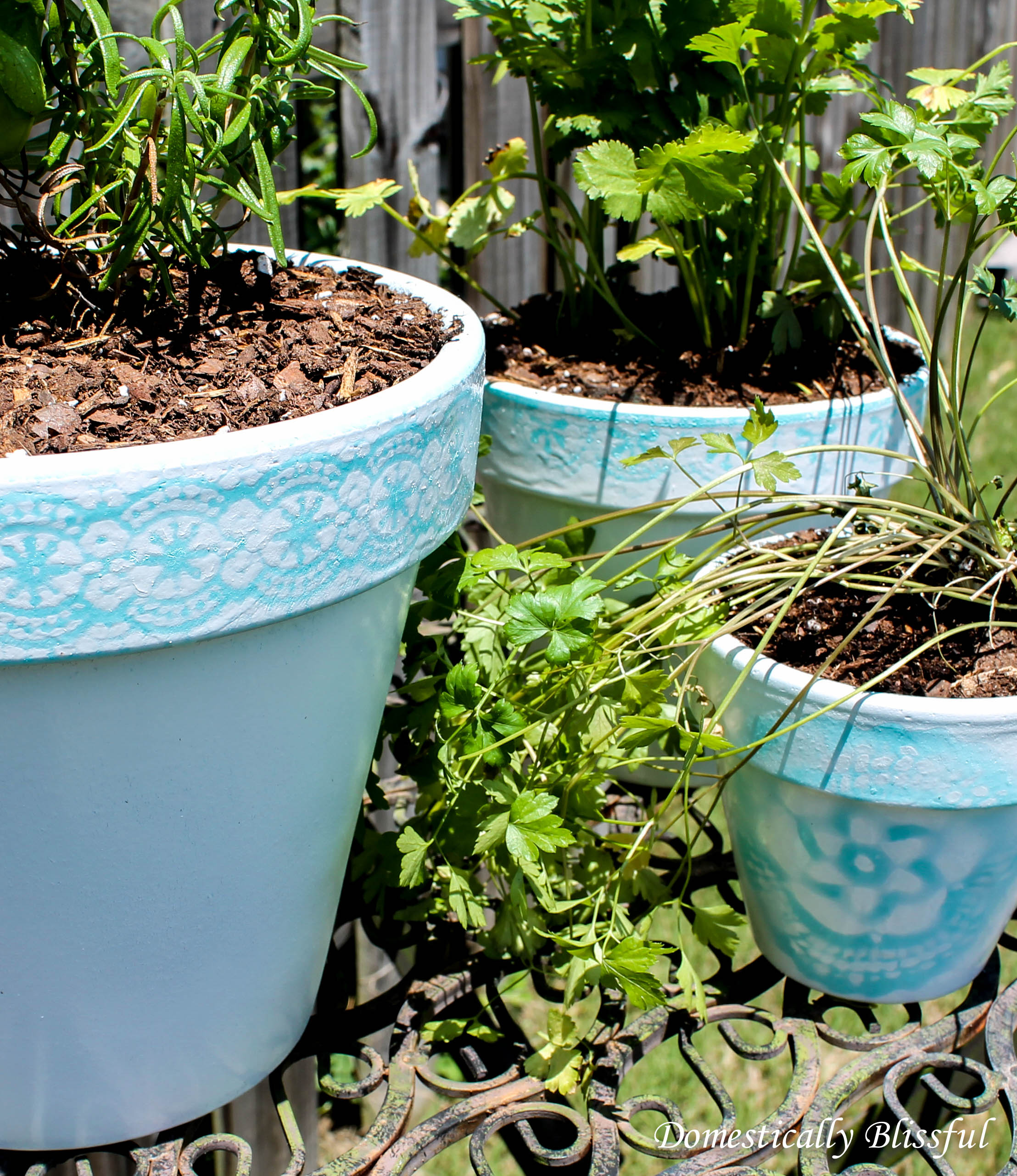 Spray Painted Lace Pots