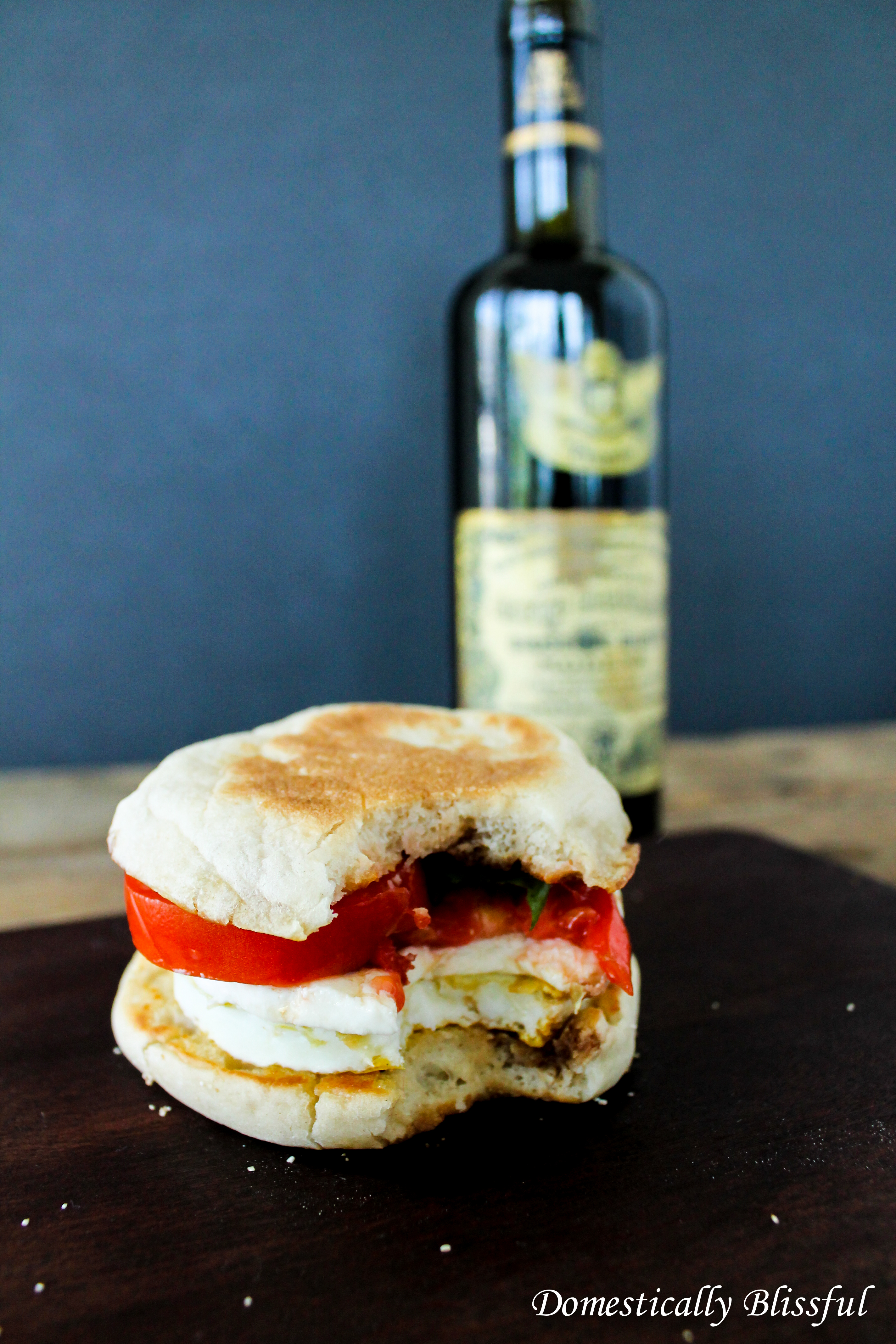 Warm and Melted Caprese Breakfast Sandwich