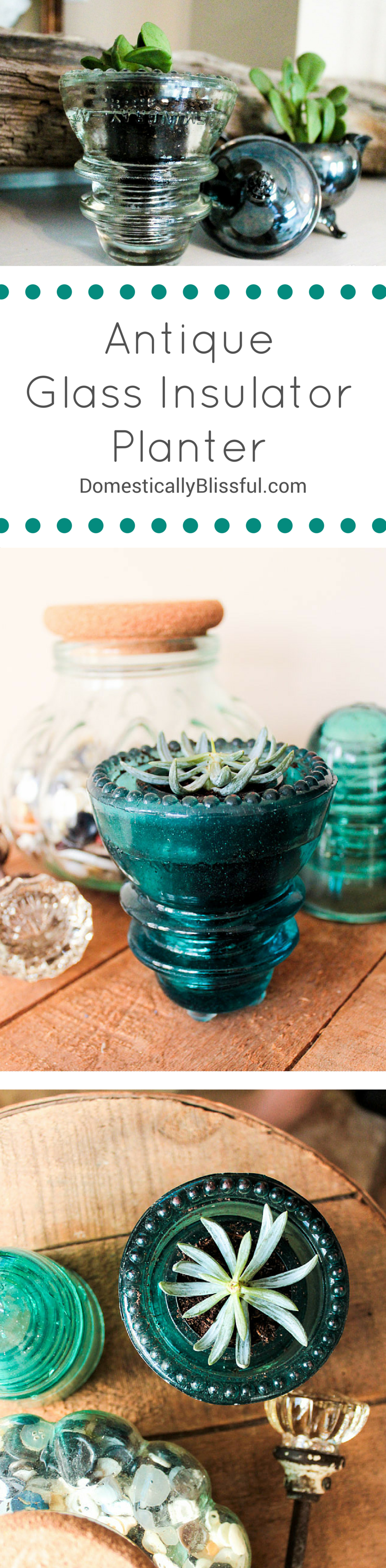 Antique Glass Insulator Planter by Domestically Blissful