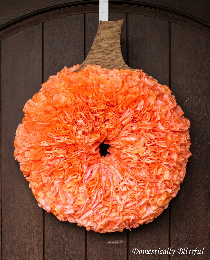 Coffee Filter Pumpkin Wreath