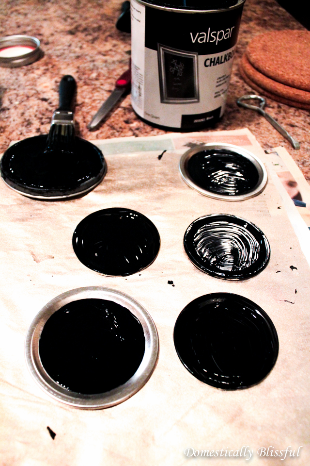 Paint Mason Jar Lids with Chalkboard Paint