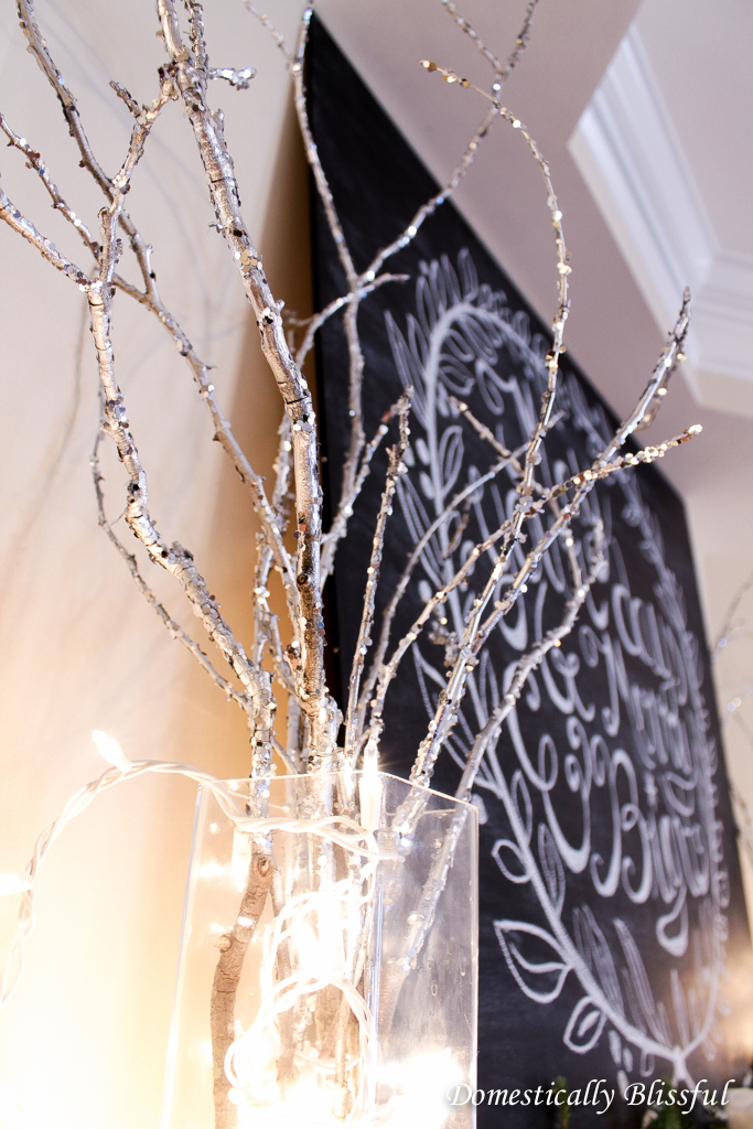 Silver Glittered Branches