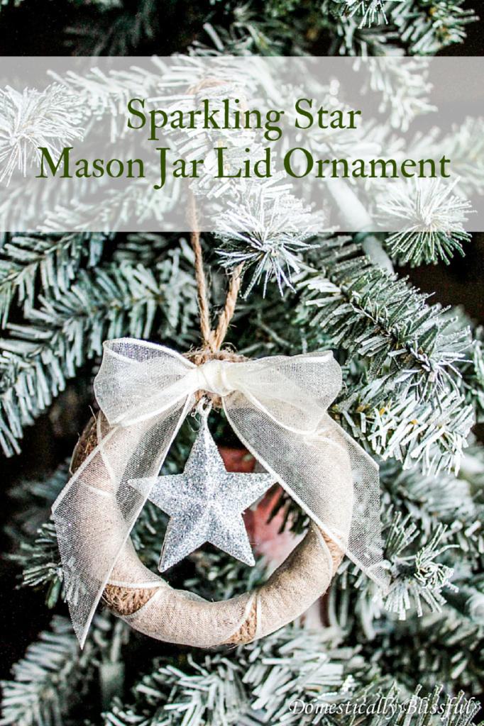 Sparkling Star Mason Jar Lid Ornament