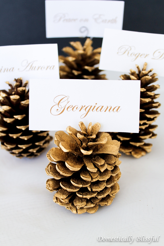 Gold Pinecone Place Cards