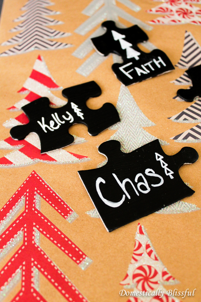 Puzzle Piece Gift Tags with Chalkboard Paint