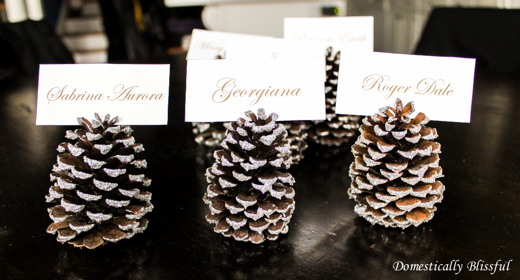 Silver Sparkly Pinecone Place Card Holders