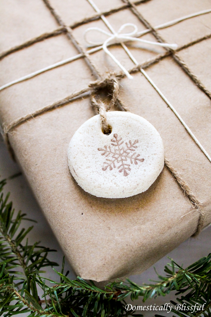 Snowflake stamped salt dough