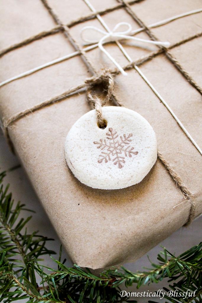 Snowflake stamped salt dough