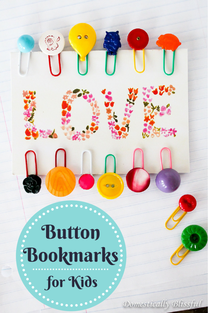 Button Bookmarks for Kids