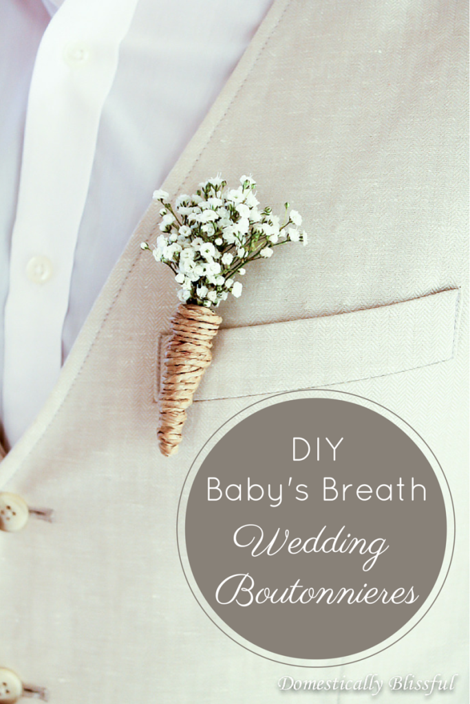 DIY Baby's Breath Wedding Boutonnieres via Lou Lou Girls