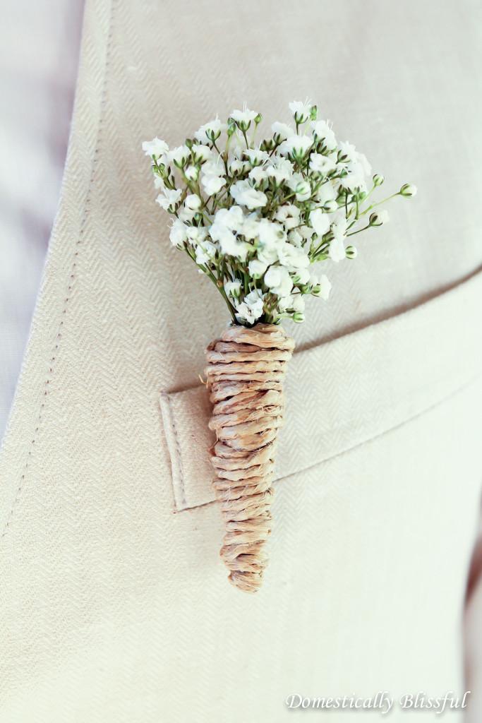 DIY Baby's Breath Wedding Boutonnieres