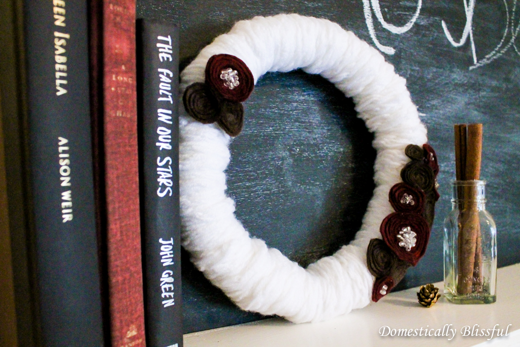 DIY Winter Wreath with Felt Flowers