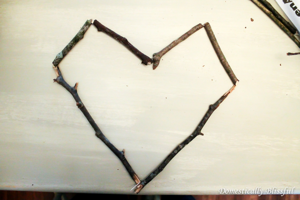 Heart shape from sticks