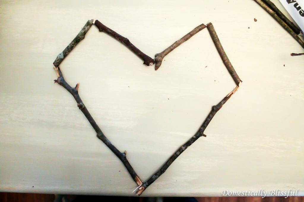 Heart shape from sticks