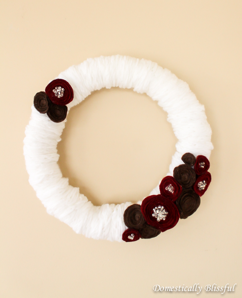 Winter Wreath with Felt Flowers
