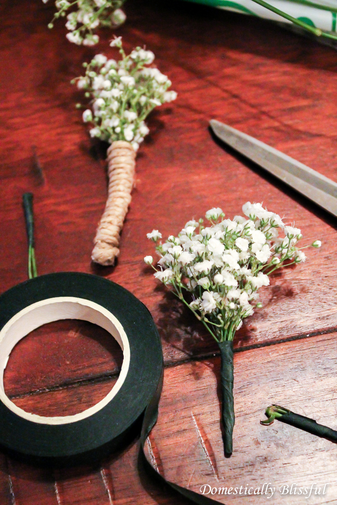 Wrap floral tape around flower stems of boutonnieres