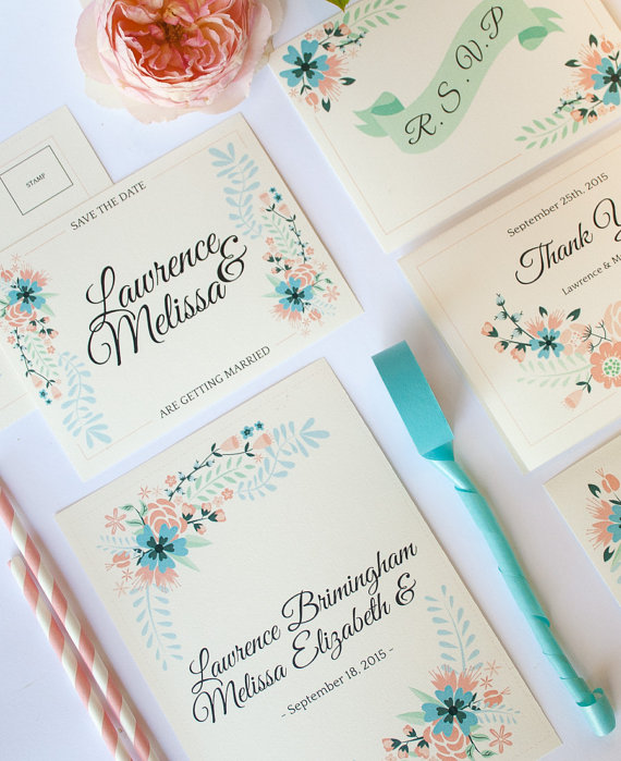 Il 570xN707600998 Q1zy How Adorable Are These Illustrated Flower Wedding Invitations