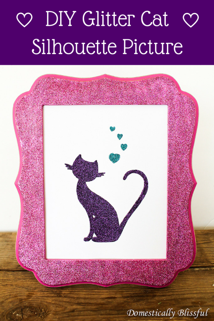 DIY Glitter Cat Silhouette Picture
