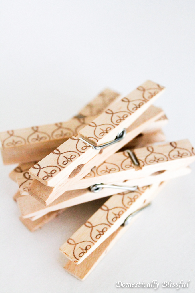 DIY Ink Stamped Clothespins