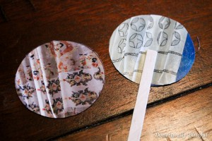 Cut Outs of Anthropologie Catalog and popcicle stick