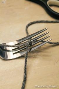 Yarn through fork