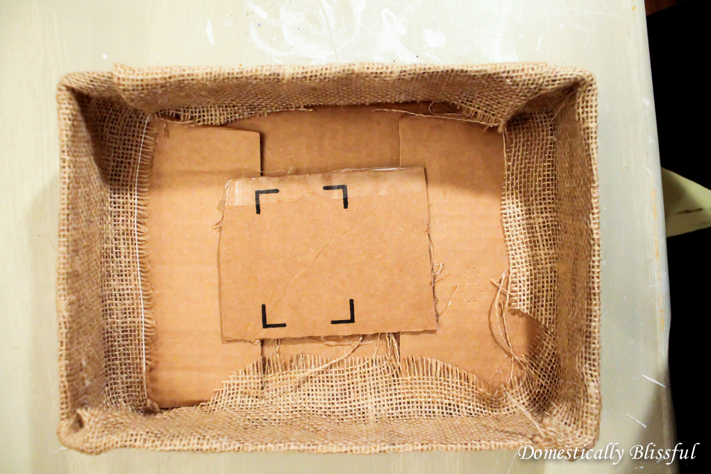 Cover box in burlap