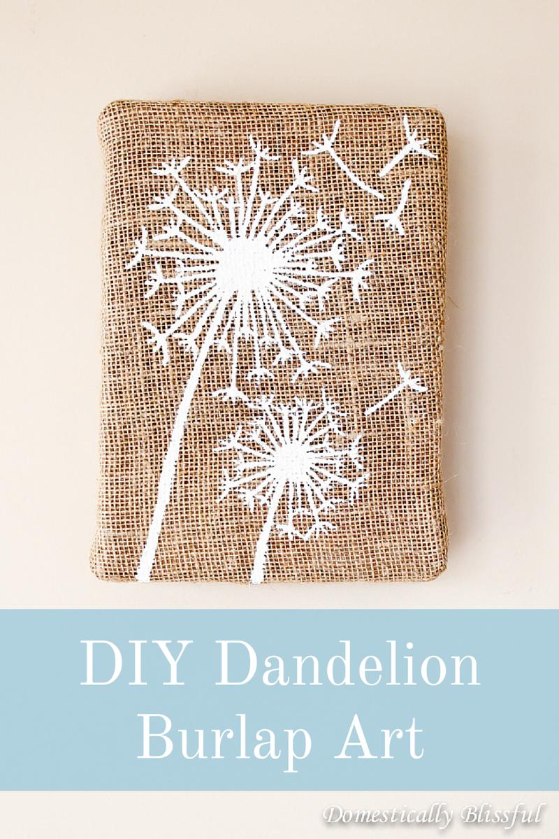 DIY Dandelion Burlap Art