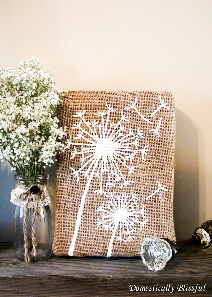 Dandelion Burlap Art