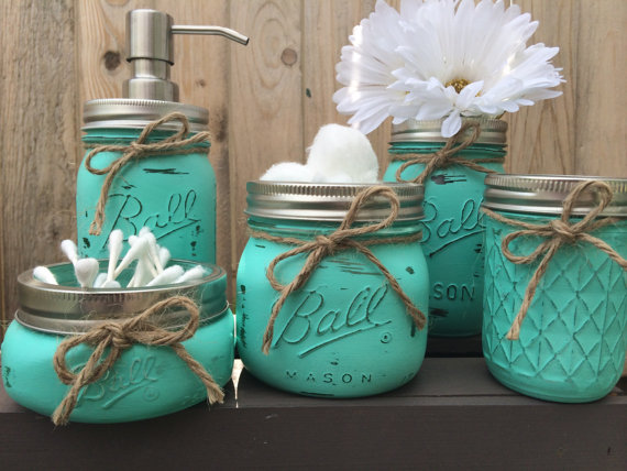 Hand Painted Mason Jar Bathroom Set